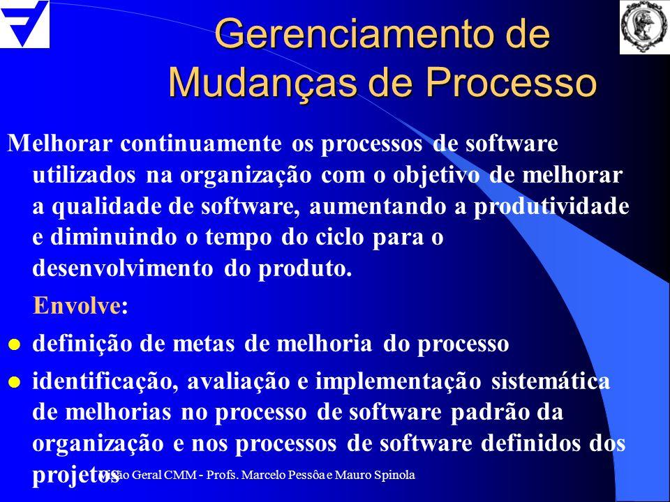 Visão Geral CMM - Profs. Marcelo Pessôa e Mauro Spinola Gerenciamento de Mudanças de Processo Melhorar continuamente os processos de software utilizad