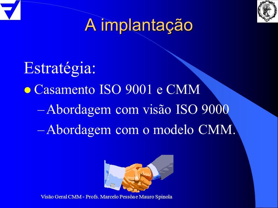 Visão Geral CMM - Profs. Marcelo Pessôa e Mauro Spinola A implantação Estratégia: l Casamento ISO 9001 e CMM –Abordagem com visão ISO 9000 –Abordagem
