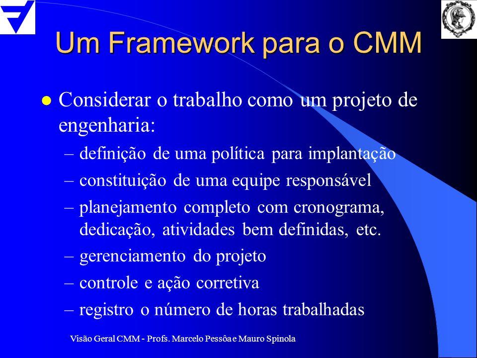 Visão Geral CMM - Profs. Marcelo Pessôa e Mauro Spinola Um Framework para o CMM l Considerar o trabalho como um projeto de engenharia: –definição de u