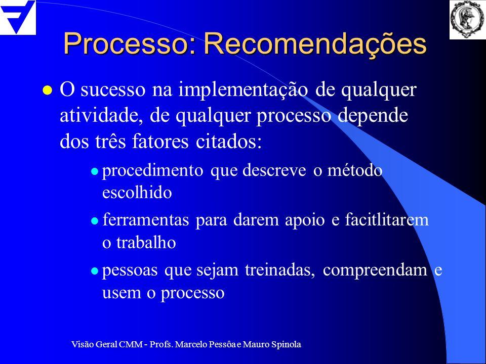 Visão Geral CMM - Profs. Marcelo Pessôa e Mauro Spinola Processo: Recomendações l O sucesso na implementação de qualquer atividade, de qualquer proces