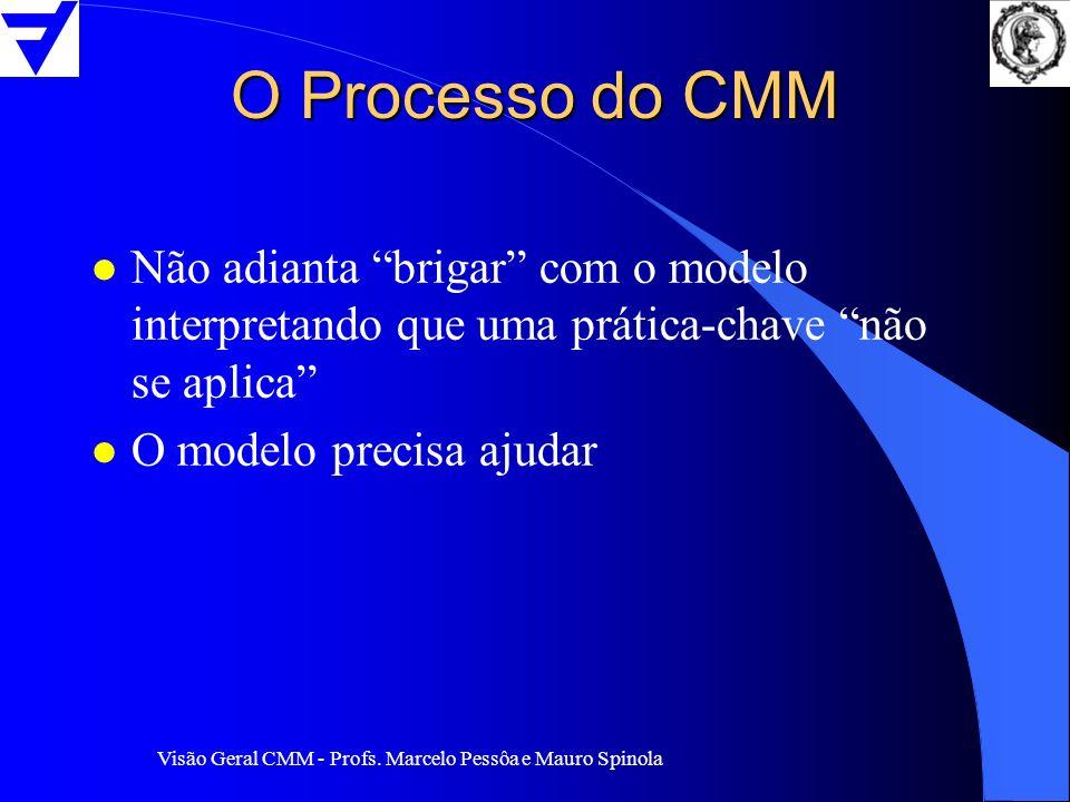 Visão Geral CMM - Profs. Marcelo Pessôa e Mauro Spinola O Processo do CMM l Não adianta brigar com o modelo interpretando que uma prática-chave não se
