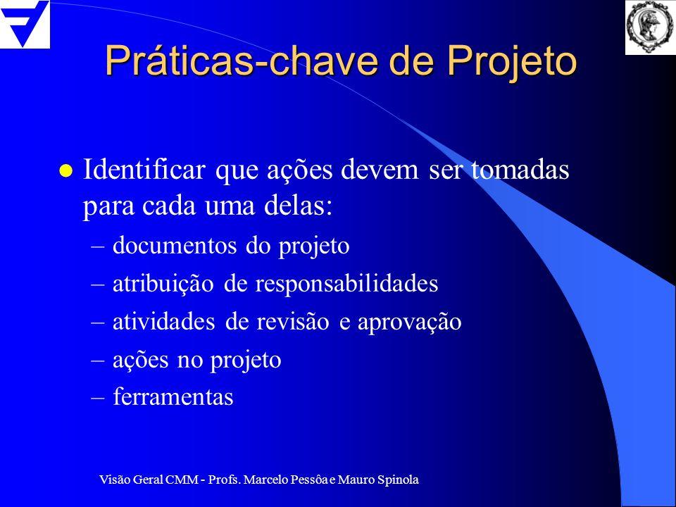Visão Geral CMM - Profs. Marcelo Pessôa e Mauro Spinola Práticas-chave de Projeto l Identificar que ações devem ser tomadas para cada uma delas: –docu