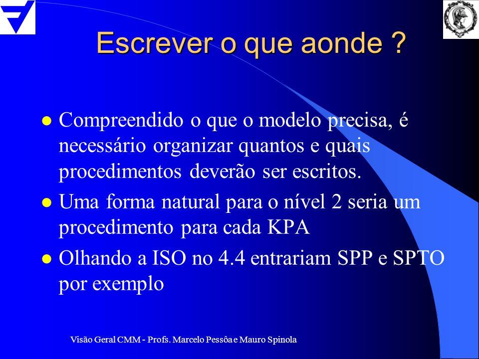 Visão Geral CMM - Profs. Marcelo Pessôa e Mauro Spinola Escrever o que aonde ? l Compreendido o que o modelo precisa, é necessário organizar quantos e