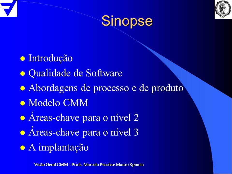 Visão Geral CMM - Profs. Marcelo Pessôa e Mauro Spinola Sinopse l Introdução l Qualidade de Software l Abordagens de processo e de produto l Modelo CM