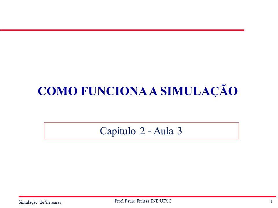 1 Simulação de Sistemas Prof. Paulo Freitas INE/UFSC COMO FUNCIONA A SIMULAÇÃO Capítulo 2 - Aula 3