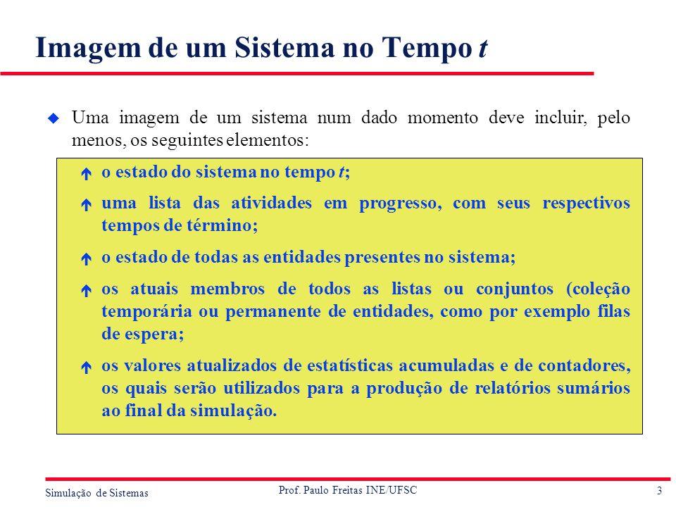 3 Simulação de Sistemas Prof. Paulo Freitas INE/UFSC Imagem de um Sistema no Tempo t u Uma imagem de um sistema num dado momento deve incluir, pelo me