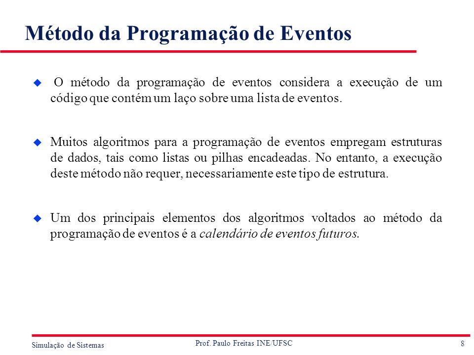 8 Simulação de Sistemas Prof. Paulo Freitas INE/UFSC Método da Programação de Eventos u O método da programação de eventos considera a execução de um