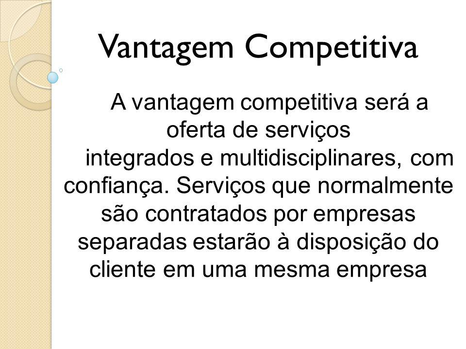 Vantagem Competitiva A vantagem competitiva será a oferta de serviços integrados e multidisciplinares, com confiança. Serviços que normalmente são con