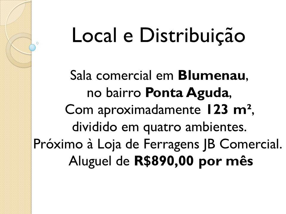 Local e Distribuição Sala comercial em Blumenau, no bairro Ponta Aguda, Com aproximadamente 123 m², dividido em quatro ambientes. Próximo à Loja de Fe