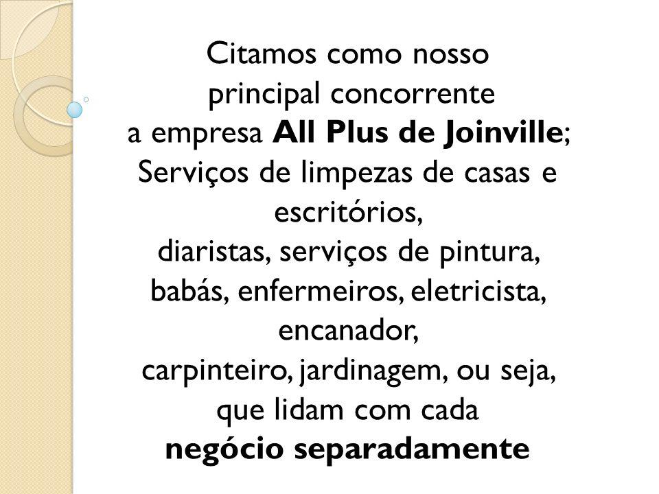 Citamos como nosso principal concorrente a empresa All Plus de Joinville; Serviços de limpezas de casas e escritórios, diaristas, serviços de pintura,
