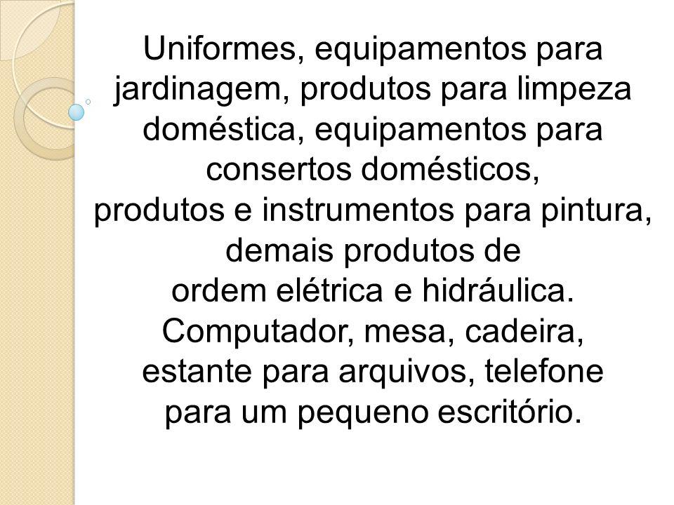 Uniformes, equipamentos para jardinagem, produtos para limpeza doméstica, equipamentos para consertos domésticos, produtos e instrumentos para pintura