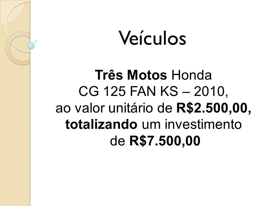 Veículos Três Motos Honda CG 125 FAN KS – 2010, ao valor unitário de R$2.500,00, totalizando um investimento de R$7.500,00