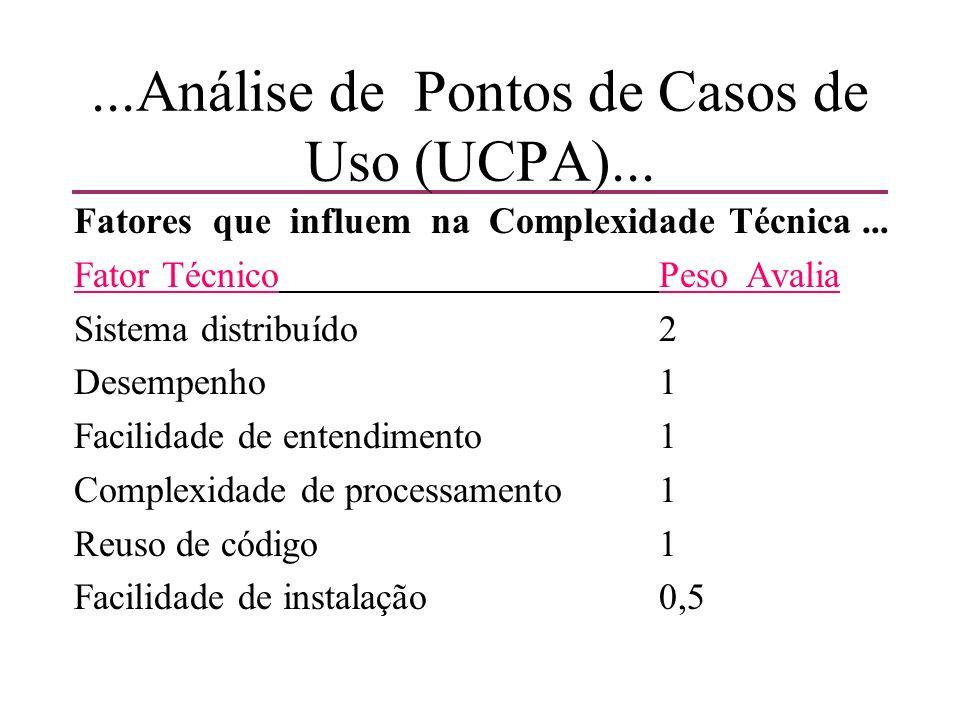 ...Análise de Pontos de Casos de Uso (UCPA)... Fatores que influem na Complexidade Técnica... Fator Técnico PesoAvalia Sistema distribuído 2 Desempenh