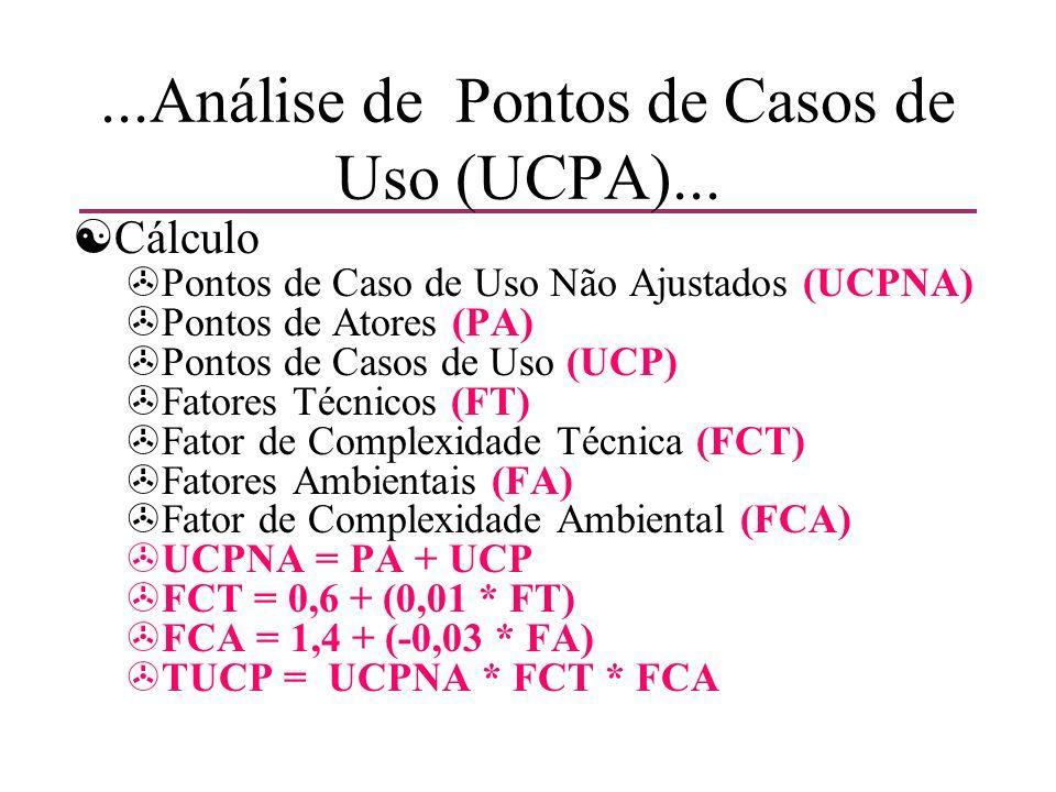 ...Análise de Pontos de Casos de Uso (UCPA)... [Cálculo >Pontos de Caso de Uso Não Ajustados (UCPNA) >Pontos de Atores (PA) >Pontos de Casos de Uso (U