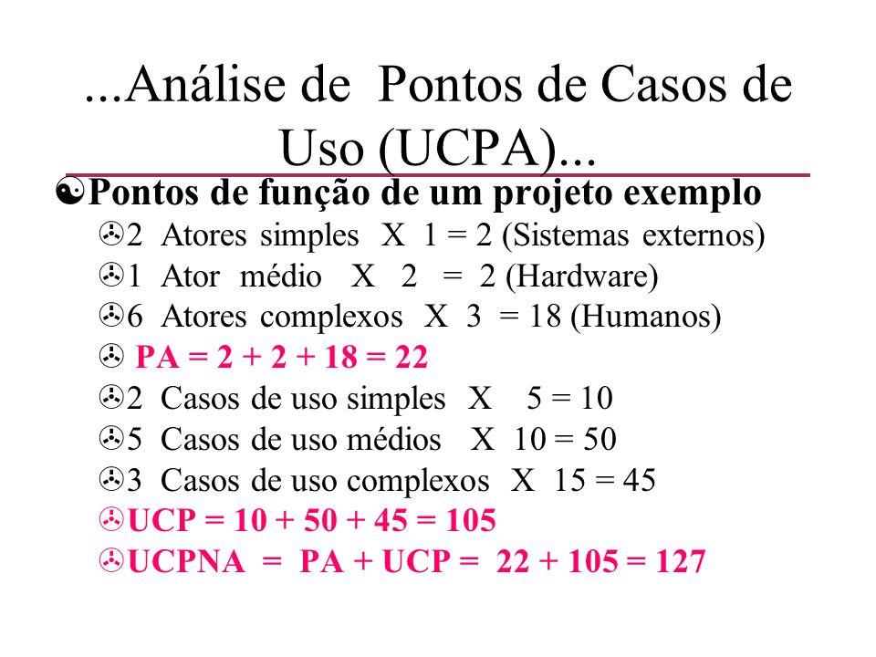 ...Análise de Pontos de Casos de Uso (UCPA)... [Pontos de função de um projeto exemplo >2 Atores simples X 1 = 2 (Sistemas externos) >1 Ator médio X 2