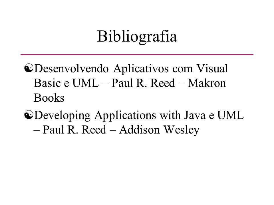 Bibliografia [Desenvolvendo Aplicativos com Visual Basic e UML – Paul R. Reed – Makron Books [Developing Applications with Java e UML – Paul R. Reed –