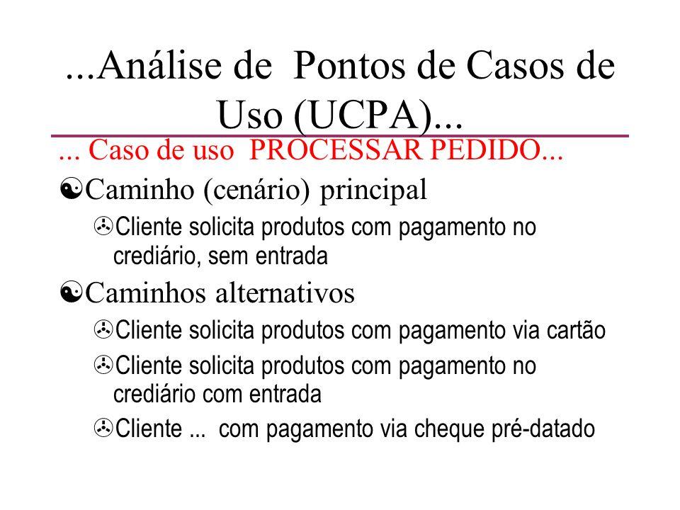 ...Análise de Pontos de Casos de Uso (UCPA)...... Caso de uso PROCESSAR PEDIDO... [Caminho (cenário) principal >Cliente solicita produtos com pagament