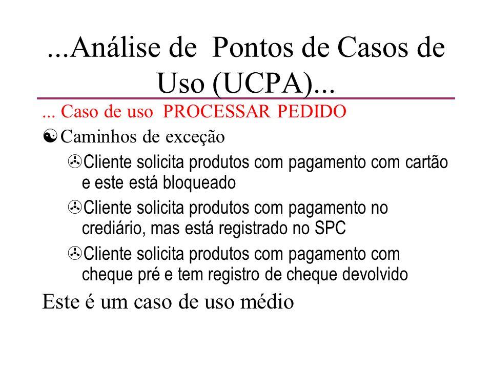 ...Análise de Pontos de Casos de Uso (UCPA)...... Caso de uso PROCESSAR PEDIDO [Caminhos de exceção >Cliente solicita produtos com pagamento com cartã