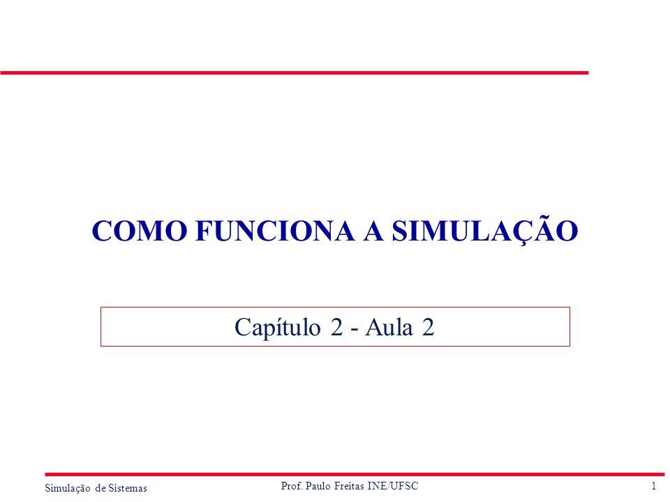1 Simulação de Sistemas Prof. Paulo Freitas INE/UFSC COMO FUNCIONA A SIMULAÇÃO Capítulo 2 - Aula 2