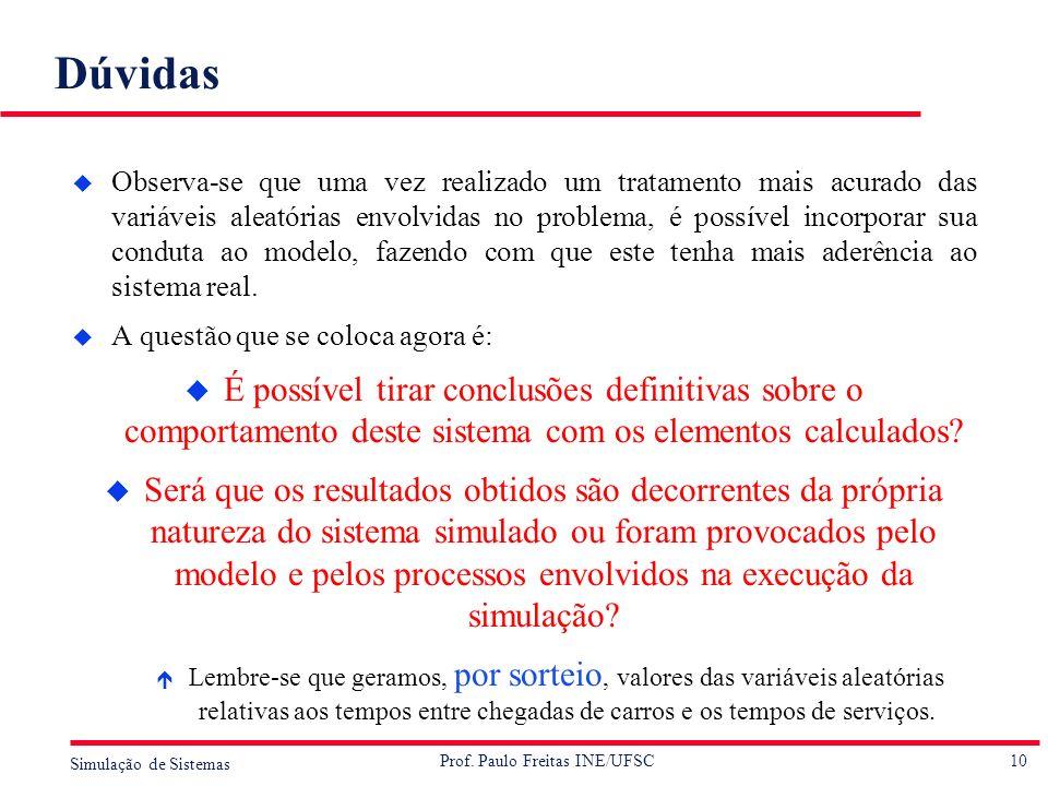 10 Simulação de Sistemas Prof. Paulo Freitas INE/UFSC Dúvidas u Observa-se que uma vez realizado um tratamento mais acurado das variáveis aleatórias e
