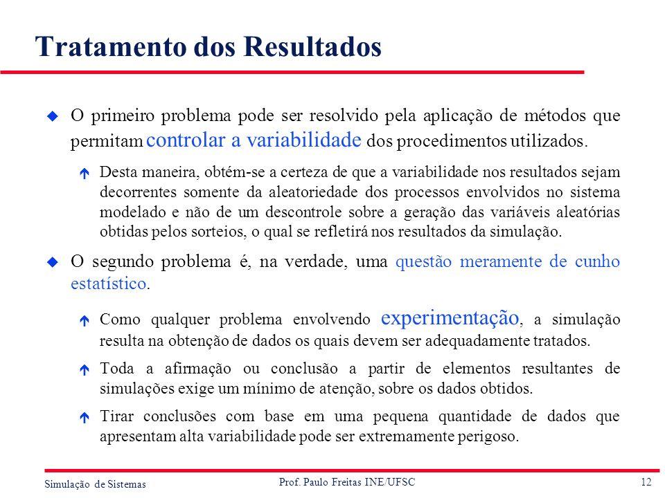12 Simulação de Sistemas Prof. Paulo Freitas INE/UFSC Tratamento dos Resultados u O primeiro problema pode ser resolvido pela aplicação de métodos que