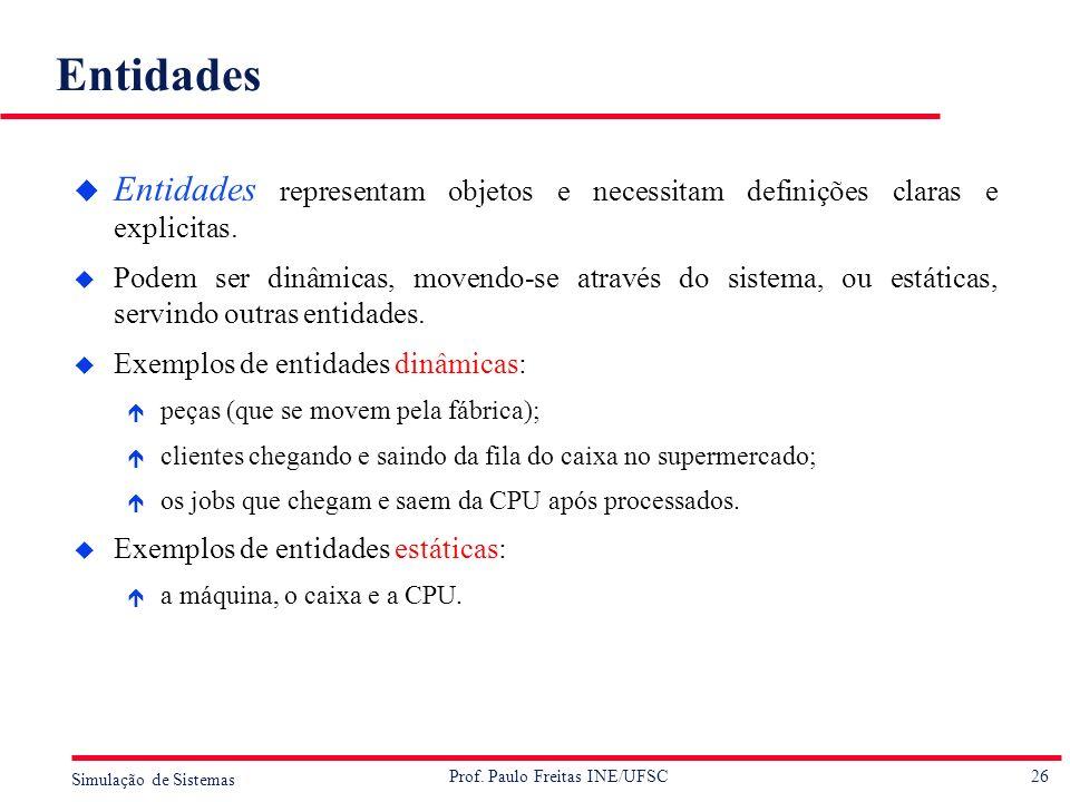 26 Simulação de Sistemas Prof. Paulo Freitas INE/UFSC Entidades u Entidades representam objetos e necessitam definições claras e explicitas. u Podem s