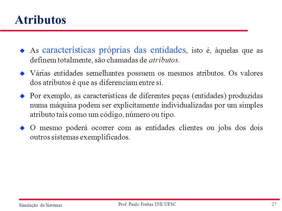 27 Simulação de Sistemas Prof. Paulo Freitas INE/UFSC Atributos u As características próprias das entidades, isto é, àquelas que as definem totalmente