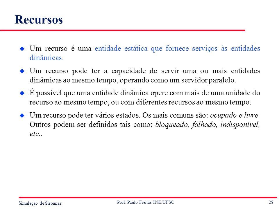28 Simulação de Sistemas Prof. Paulo Freitas INE/UFSC Recursos u Um recurso é uma entidade estática que fornece serviços às entidades dinâmicas. u Um