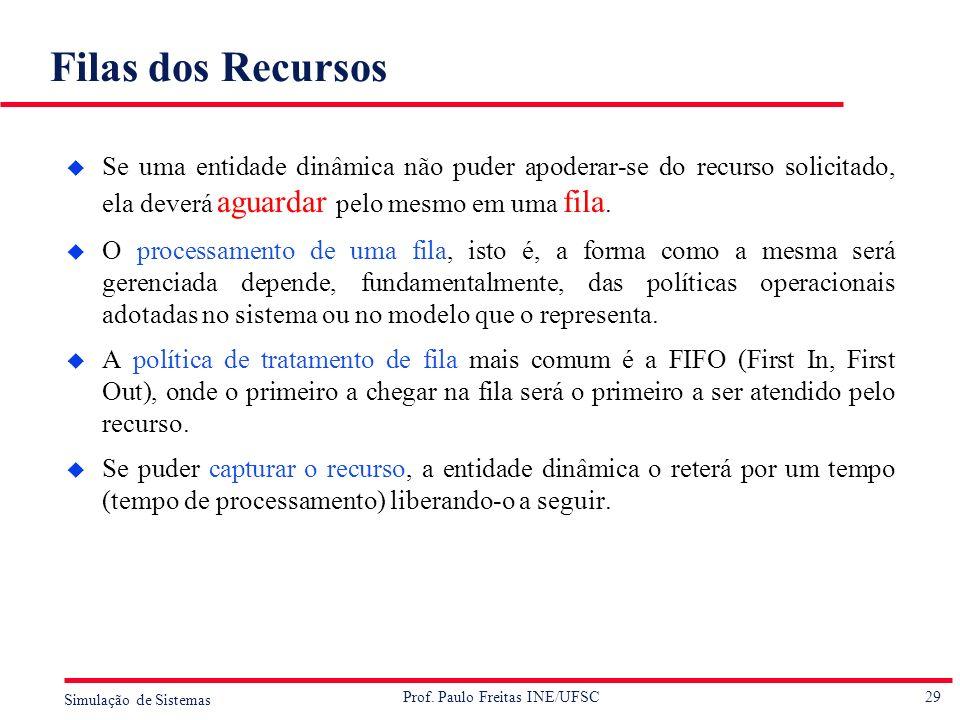 29 Simulação de Sistemas Prof. Paulo Freitas INE/UFSC Filas dos Recursos u Se uma entidade dinâmica não puder apoderar-se do recurso solicitado, ela d