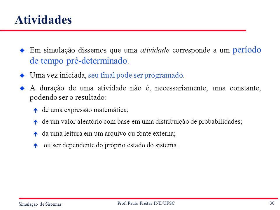 30 Simulação de Sistemas Prof. Paulo Freitas INE/UFSC Atividades u Em simulação dissemos que uma atividade corresponde a um período de tempo pré-deter
