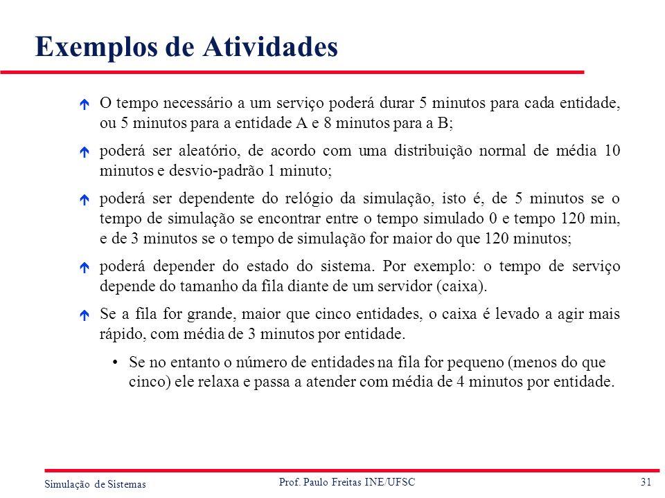 31 Simulação de Sistemas Prof. Paulo Freitas INE/UFSC Exemplos de Atividades é O tempo necessário a um serviço poderá durar 5 minutos para cada entida