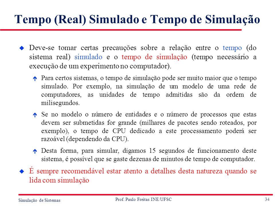 34 Simulação de Sistemas Prof. Paulo Freitas INE/UFSC Tempo (Real) Simulado e Tempo de Simulação u Deve-se tomar certas precauções sobre a relação ent