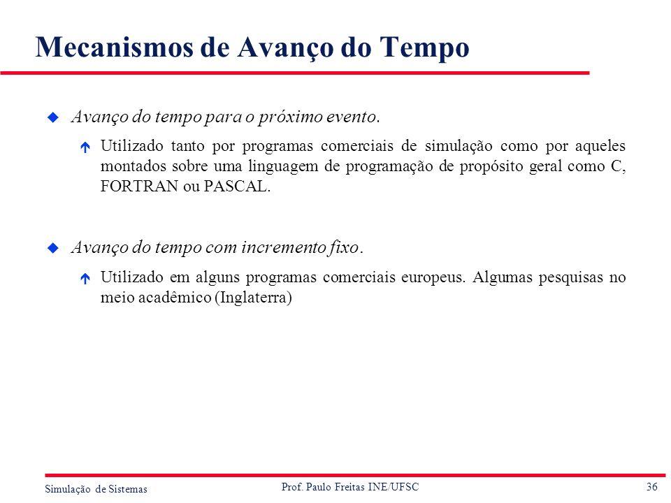 36 Simulação de Sistemas Prof. Paulo Freitas INE/UFSC Mecanismos de Avanço do Tempo u Avanço do tempo para o próximo evento. é Utilizado tanto por pro