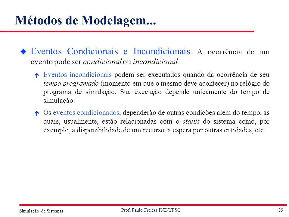 39 Simulação de Sistemas Prof. Paulo Freitas INE/UFSC Métodos de Modelagem... u Eventos Condicionais e Incondicionais. A ocorrência de um evento pode