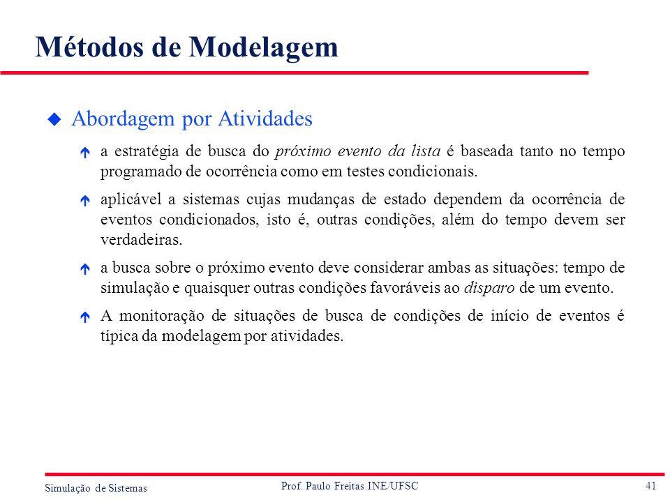41 Simulação de Sistemas Prof. Paulo Freitas INE/UFSC Métodos de Modelagem u Abordagem por Atividades é a estratégia de busca do próximo evento da lis