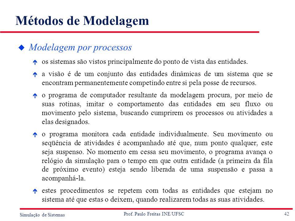 42 Simulação de Sistemas Prof. Paulo Freitas INE/UFSC Métodos de Modelagem u Modelagem por processos é os sistemas são vistos principalmente do ponto