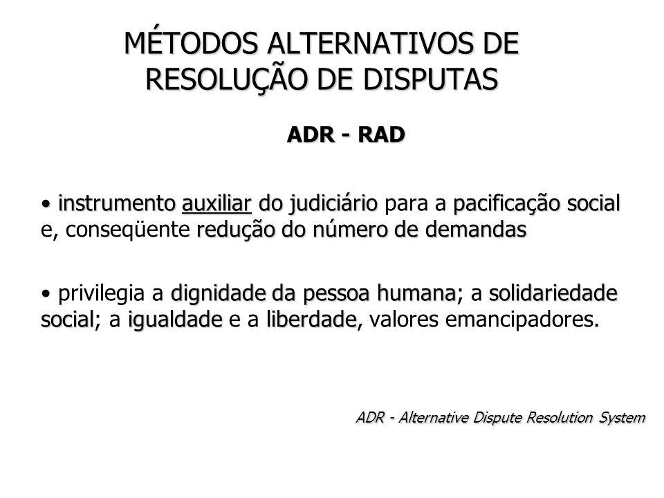 MÉTODOS ALTERNATIVOS DE RESOLUÇÃO DE DISPUTAS ADR - RAD ADR - RAD instrumento auxiliar do judiciário pacificação social redução do número de demandas