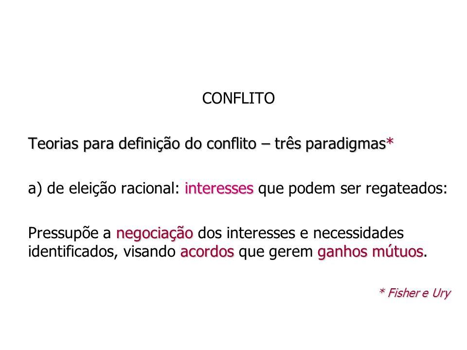 CONFLITO Teorias para definição do conflito – três paradigmas* interesses a) de eleição racional: interesses que podem ser regateados: negociação acor