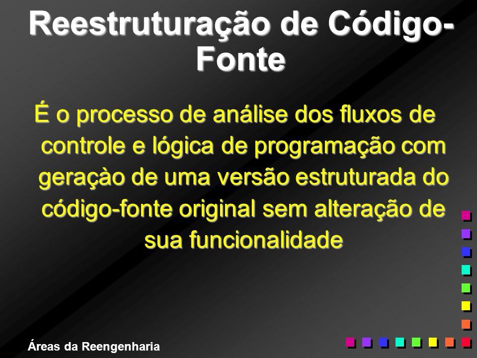 Áreas da Reengenharia Reestruturação de Código- Fonte É o processo de análise dos fluxos de controle e lógica de programação com geraçào de uma versão