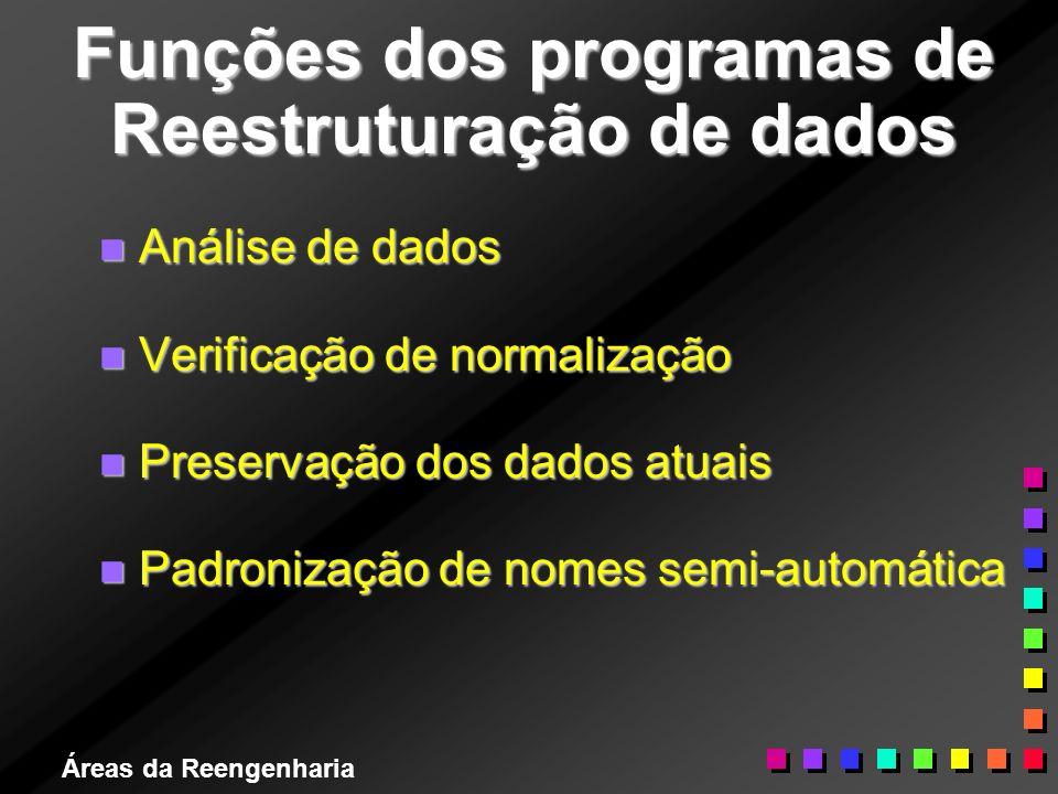 Áreas da Reengenharia Funções dos programas de Reestruturação de dados n Análise de dados n Verificação de normalização n Preservação dos dados atuais