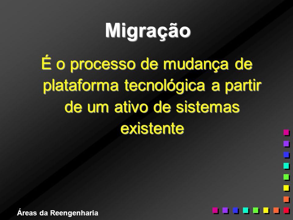 Áreas da Reengenharia Migração É o processo de mudança de plataforma tecnológica a partir de um ativo de sistemas existente