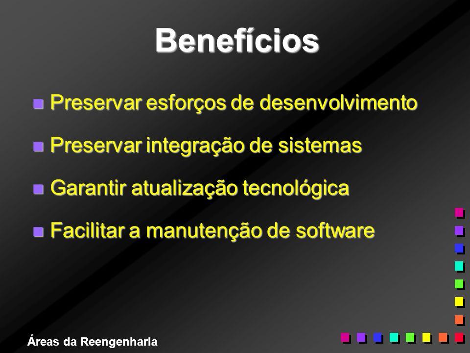 Áreas da Reengenharia Benefícios n Preservar esforços de desenvolvimento n Preservar integração de sistemas n Garantir atualização tecnológica n Facil