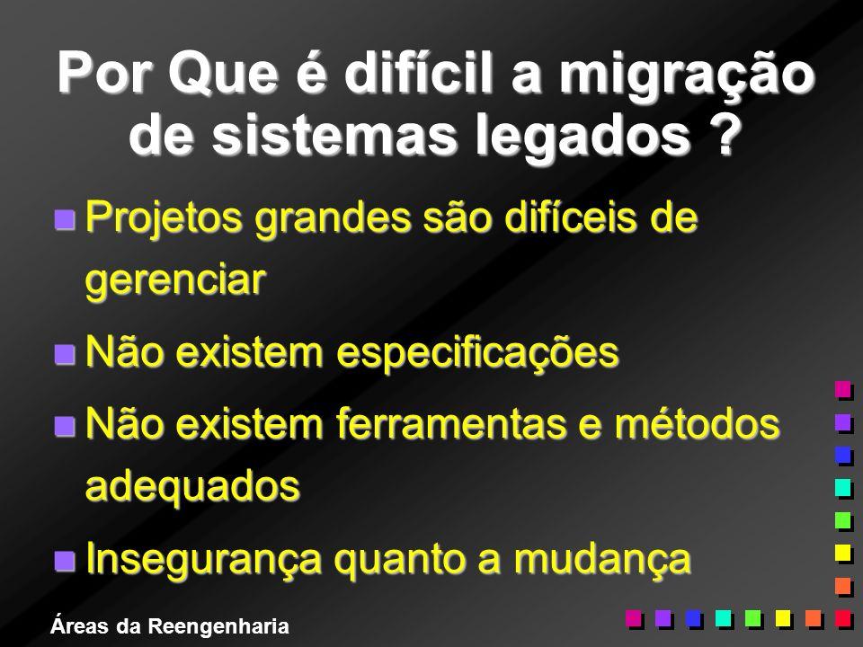 Áreas da Reengenharia Por Que é difícil a migração de sistemas legados ? n Projetos grandes são difíceis de gerenciar n Não existem especificações n N