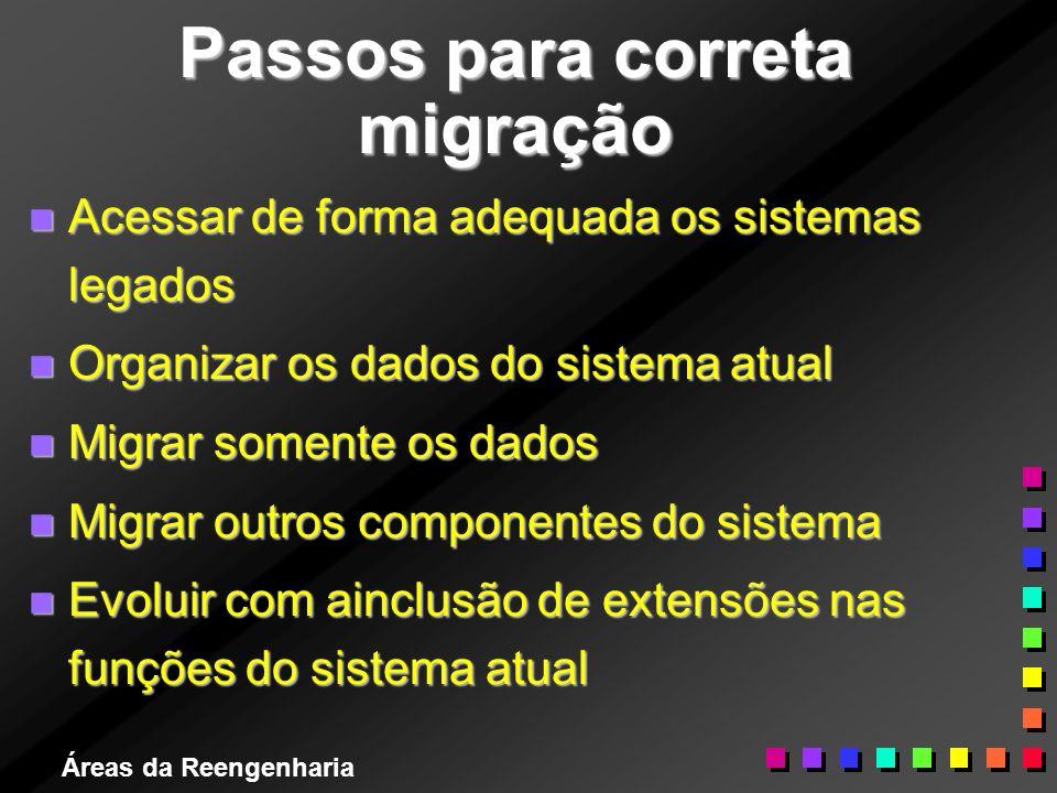 Áreas da Reengenharia Passos para correta migração n Acessar de forma adequada os sistemas legados n Organizar os dados do sistema atual n Migrar some