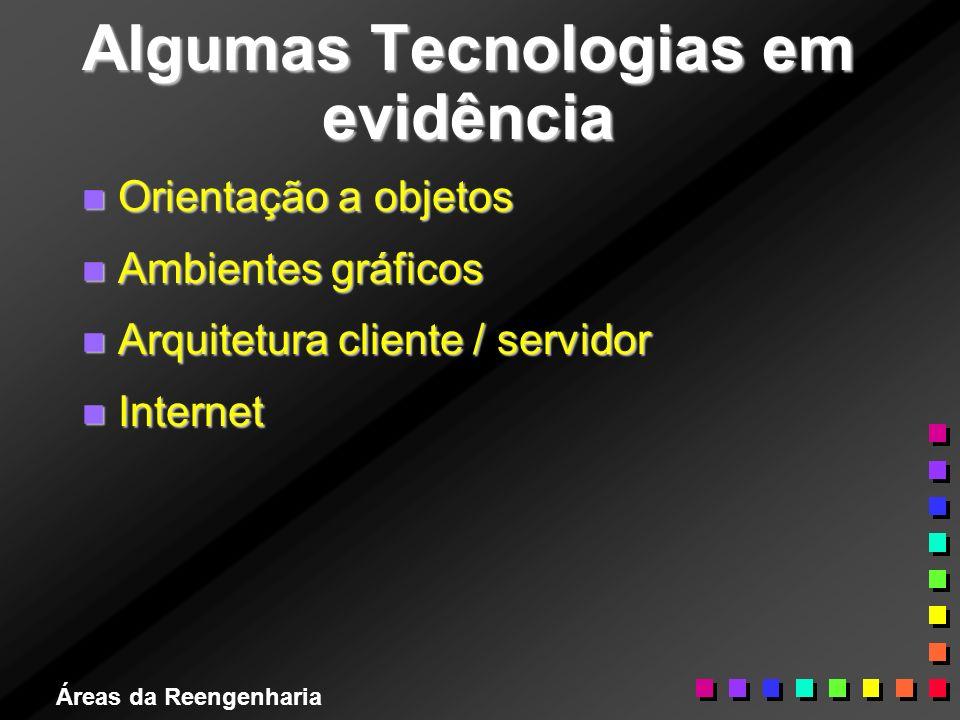 Áreas da Reengenharia Algumas Tecnologias em evidência n Orientação a objetos n Ambientes gráficos n Arquitetura cliente / servidor n Internet