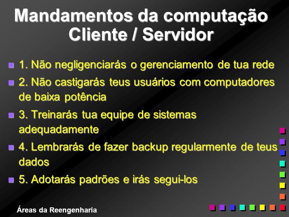 Áreas da Reengenharia Mandamentos da computação Cliente / Servidor n 1. Não negligenciarás o gerenciamento de tua rede n 2. Não castigarás teus usuári