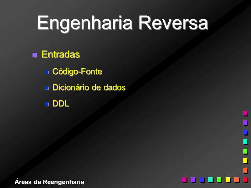 Áreas da Reengenharia Engenharia Reversa n Entradas n Código-Fonte n Dicionário de dados n DDL