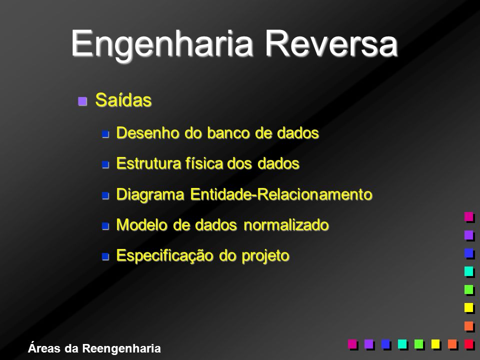 Áreas da Reengenharia Engenharia Reversa n Saídas n Desenho do banco de dados n Estrutura física dos dados n Diagrama Entidade-Relacionamento n Modelo