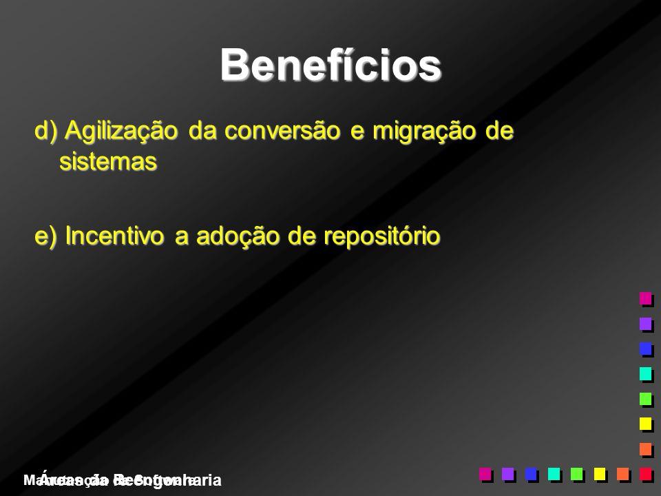 Áreas da Reengenharia Benefícios d) Agilização da conversão e migração de sistemas e) Incentivo a adoção de repositório Manutenção de Software