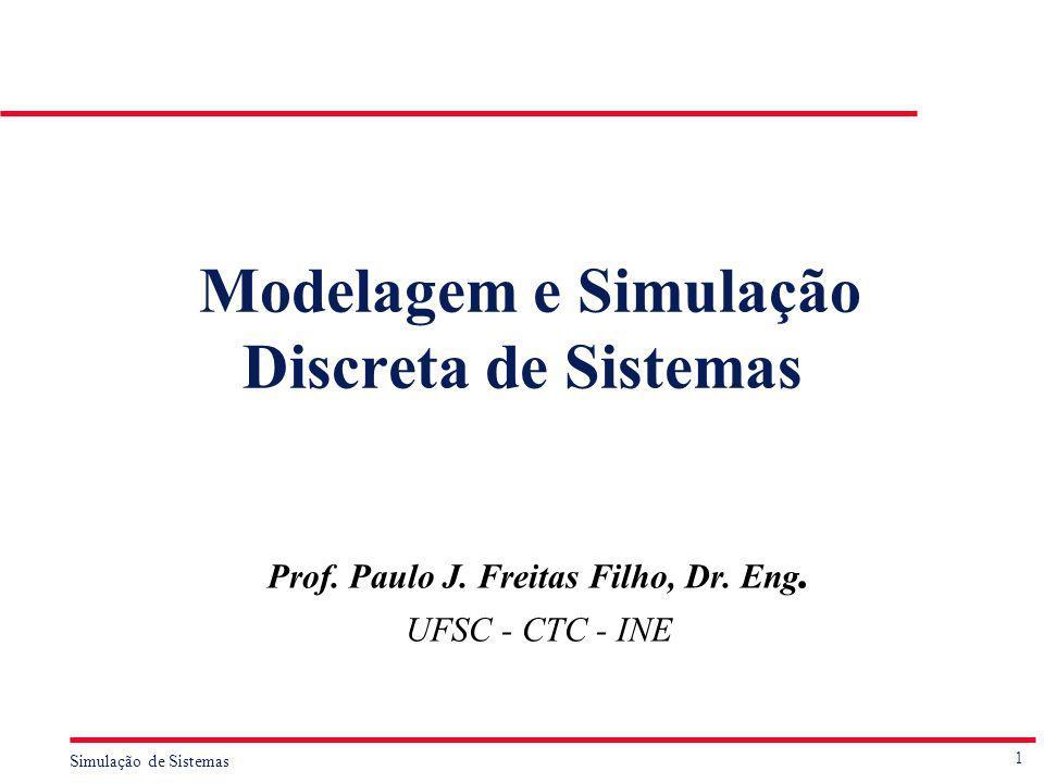1 Simulação de Sistemas Modelagem e Simulação Discreta de Sistemas Prof. Paulo J. Freitas Filho, Dr. Eng. UFSC - CTC - INE